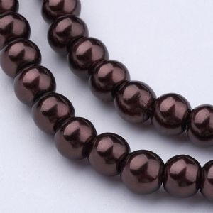 Glass Pearl Beads Saddle Brown 6mm